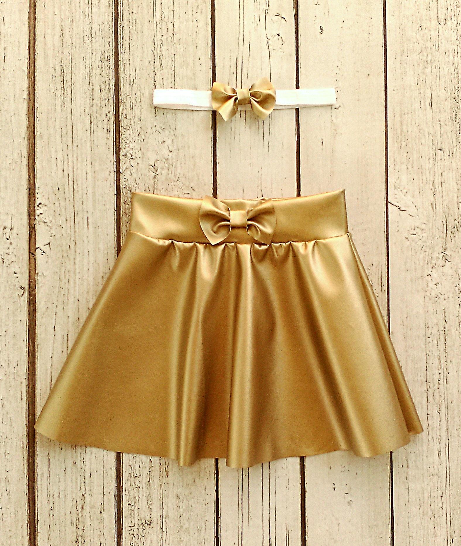 a68e487b62 Faux Leather Gold Skirt   Saddha