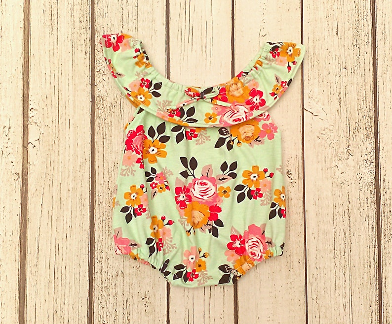 2f001a36039f Floral Baby Romper Newborn Girl Easter Outfit Mint Sitter