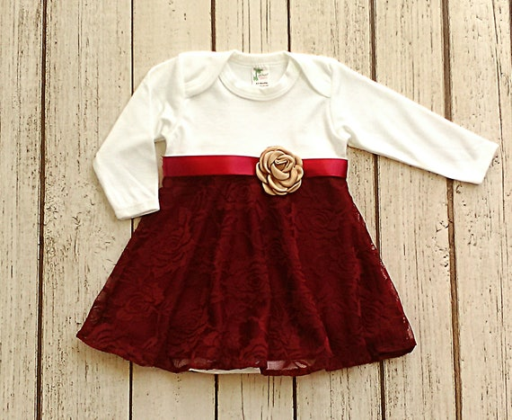 0e2572979 Baby Girl Christmas Dress Winter Baby Clothes Maroon Baby   Etsy