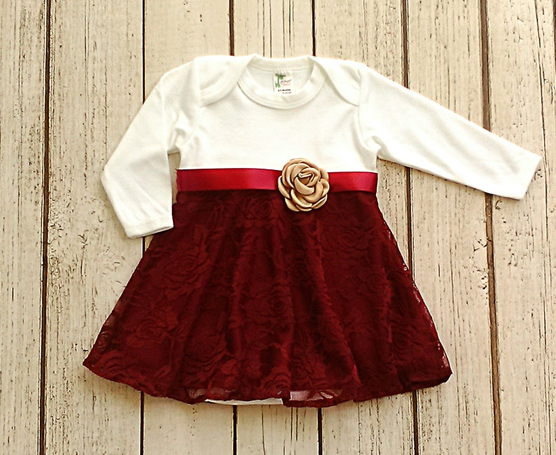 380cf0360 Baby Girl Christmas Dress Winter Baby Clothes Maroon Baby