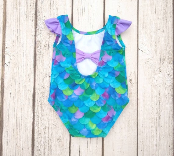 abf05b7d8c Mermaid Swimsuit Baby Girl Bathing Suit Toddler One Piece | Etsy
