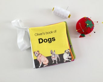 Busy book of dog breeds, soft book teaching opposites