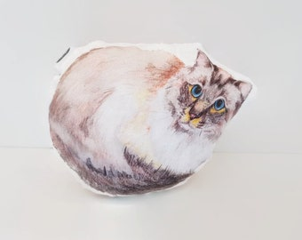 Cat shaped pillow - ragdoll | cotton baby rattle or soft cat toy