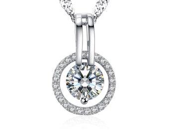 S925 Sterling Silver Halo Swarovski Element Crystal Necklace 13mm Circle