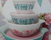 Pyrex bowl display stacking solution vintage pyrex bowls pink and white polkadots