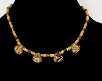Ceramic Shell Necklace, Yellow Jade Necklace, Yellow Bead Necklace, Shell Choker, Yellow Bead Choker, Layering Choker, Summer Choker