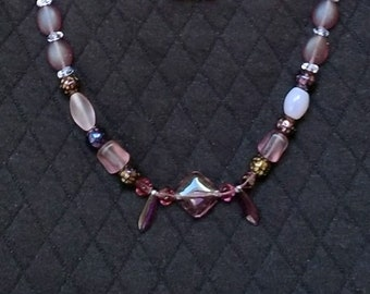 Purple Czech Glass Bead Necklace / Purple Glass Bead Necklace / Purple Mixed Bead Necklace /Long Purple Bead Necklace / Mothers Day Necklace