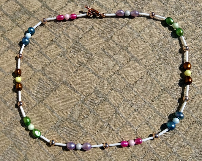 Multi-color Freshwater Pearl and Swarovski Crystal Pearl Beaded Necklace, Colorful Pearl Necklace