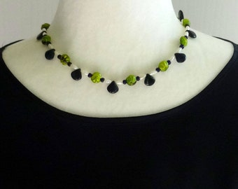 Green Czech Glass Beads and White Freshwater Pearls Necklace, Green Spring Necklace