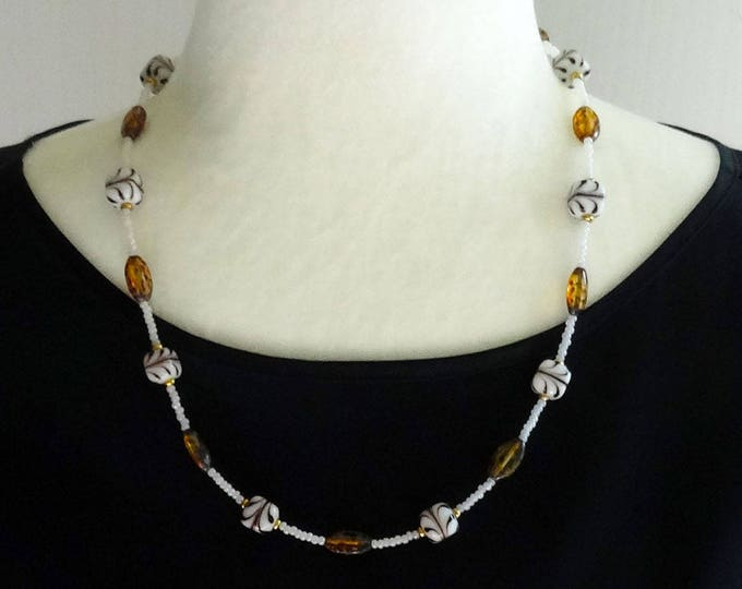 White Glass Beads with Brown Swirls, Czech Glass Pearl Beads and Vintage Amber Beads Necklace