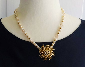 Vintage Monet Pin on a Freshwater Pearls, Swarovski Beads and Gold Tone Metal Beads Necklace