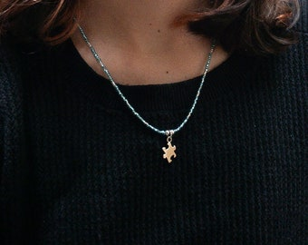 Autism Puzzle Charm Necklace, Autism Awareness Jewelry, Puzzle Piece Charm, Sterling Silver Charm