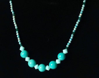 Teal Vintage Glass Beads and Teal Swarovski Crystal Beads Necklace, Spring Necklace, Summer Necklace, Casual Teal Necklace