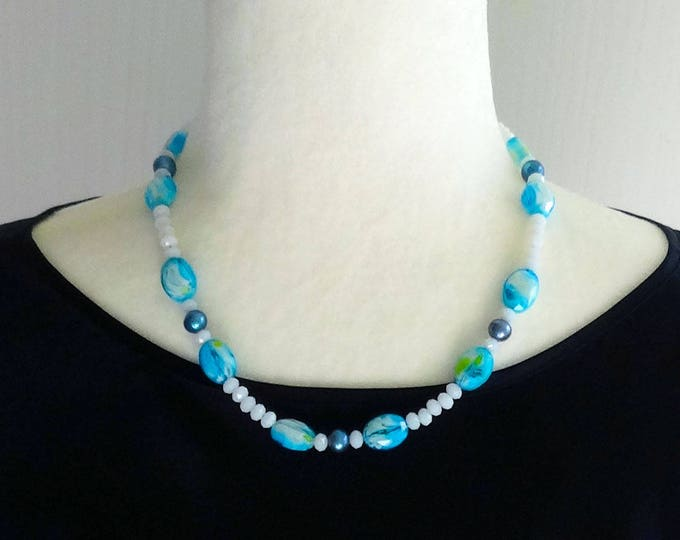 Teal Swirl Glass Beads, Teal Pearl Glass Beads, White Faceted Glass Beads Necklace