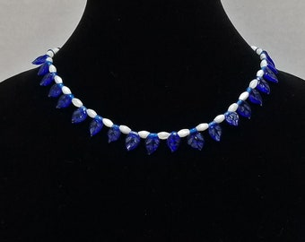 Blue Czech Glass Leaves Necklace / White Mother of Pearl Necklace / Blue and White Bead Necklace / Pantone 2020 Classic Blue Necklace