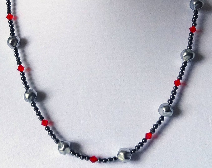 Hematite Beads, Red Swarovski Crystal Beads and Gray Baroque Glass Beads Necklace