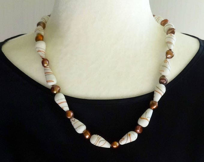 White Lampwork Glass Beads and Copper Freshwater Pearls Beaded Necklace