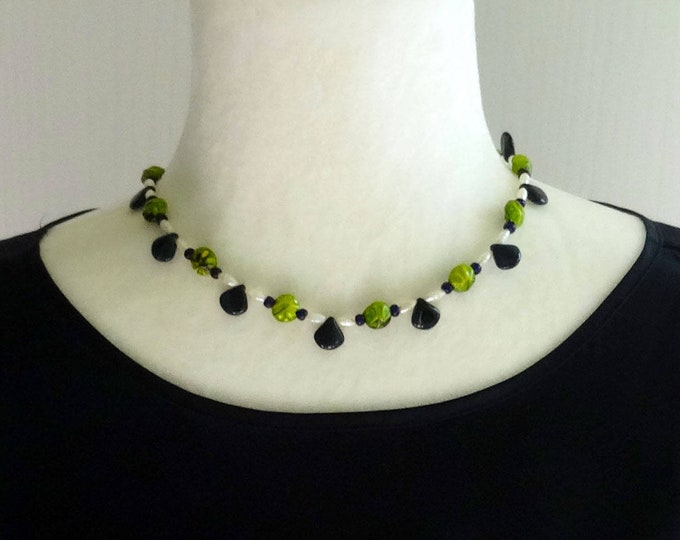 Green Czech Glass Beads and White Freshwater Pearls Necklace