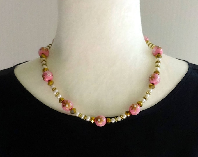 Pink Floral Wood Beads, White Freshwater Pearls and Gold Faceted Beads Necklace / Spring Necklace / Summer Necklace / Floral Necklace