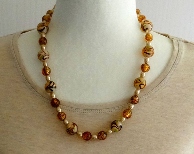 Amber Lampwork Glass Beads, Brown Swirl Glass Lampwork Beads and Vintage Cream Glass Beads Necklace / Fall Necklace