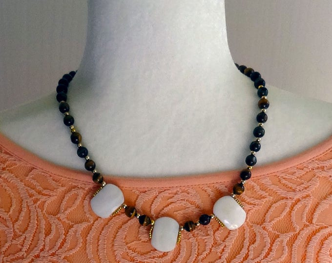 Tigers Eye, Mother of Pearl and Gold Beaded Necklace
