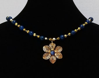 Blue and Gold Bead Necklace / Vintage Gold Flower Pendant / Vintage Gold Flower Pin  / Blue Glass Bead Necklace / Gold Metal Bead Necklace