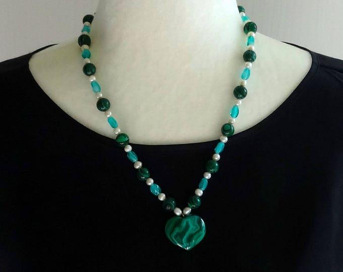Malachite Bead Necklace / Freshwater Pearls and Czech Glass Beads Necklace / Malachite Heart Pendant