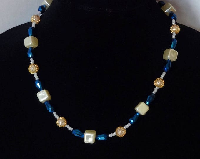 Blue Iridescent Teardrop Crystal Beads, Pearl Coated Glass Beads, Gold Mesh Beads Necklace