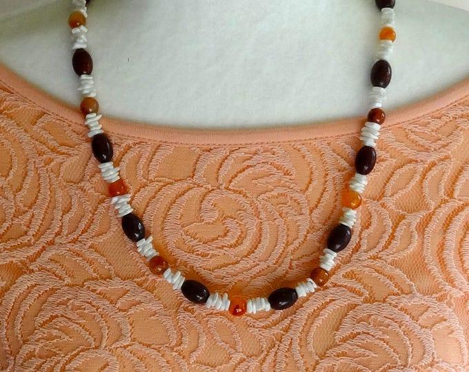 Amber Beads, Dark Rust Jasper Bead, and White Magnesite Bead Chips Necklace