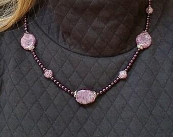 Purple Glass Pearl Necklace, Purple Lampwork Glass Bead Necklace, Purple Bead Necklace