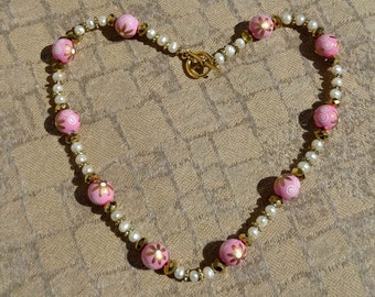 Pink Floral Wood Beads, White Freshwater Pearls and Gold Faceted Beads Necklace, Spring Necklace, Summer Necklace, Floral Necklace