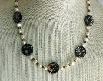 White Freshwater Pearls, Brown Smokey Quartz and Brown Shell Beaded Necklace