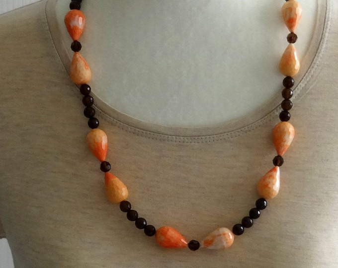 Brown Smokey Quartz Beads, Brown Swarovski Crystals Beads and Dyed Coral Resin Beads Necklace
