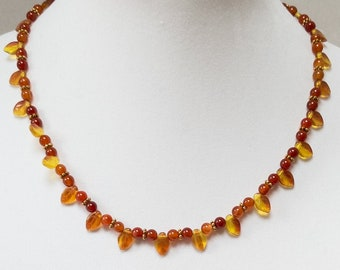 Czech Glass Leaf Necklace, Orange Carnelian Bead Necklace, Fall Leaf Necklace, Autumn Leaf Necklace, Orange Bead Necklace
