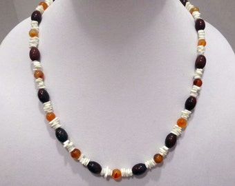 Amber Bead Necklace, Brown Jasper Bead Necklace, White Magnesite Chips Necklace, Long Beaded Necklace, One of a Kind Necklace
