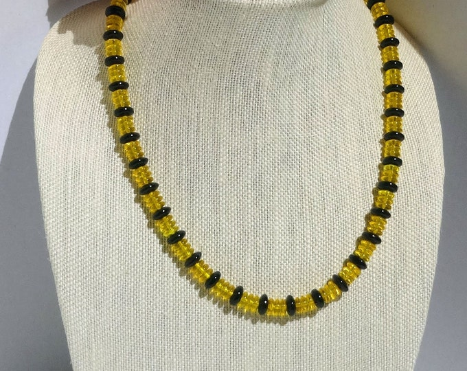 Yellow and Black Glass Beaded Necklace