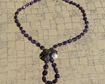 Purple Necklace made from Vintage Purple Etched Amethyst Beads and Vintage Purple Floral Cloisonne Enameled Brooch