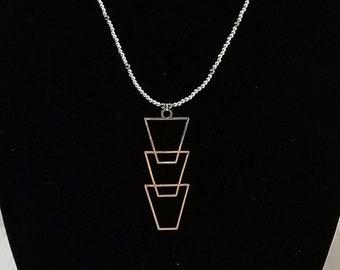 Silver Art Deco Pendant Necklace / Silver Bead Necklace / Silver Bead Minimalist Necklace / Long Silver Bead Necklace / Layering Necklace