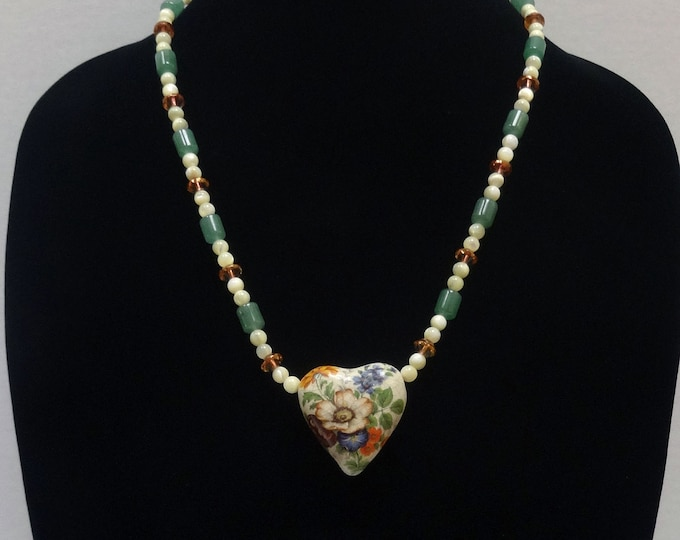 Floral Ceramic Heart Pendant on a Jade Beads, Mother of Pearl Beads and Czech Glass Amber Beads Necklace, Valentine Necklace