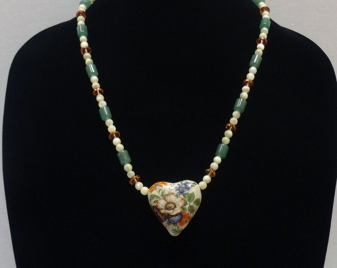 Floral Ceramic Heart Pendant / Jade Beads, Mother of Pearl Beads and Czech Glass Amber Beads Necklace / Valentine Necklace