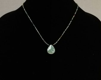 Green Agate Minimalist Necklace / Green Agate Dainty Necklace / Green Quartz Pendant Necklace / Agate Layering Necklace / Mothers Day