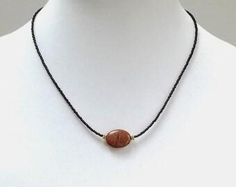 Jasper Focal Bead Minimalist Necklace / Dark Brown Seed Bead Minimalist Necklace / Short Layering Minimalist Necklace / Mothers Day Necklace
