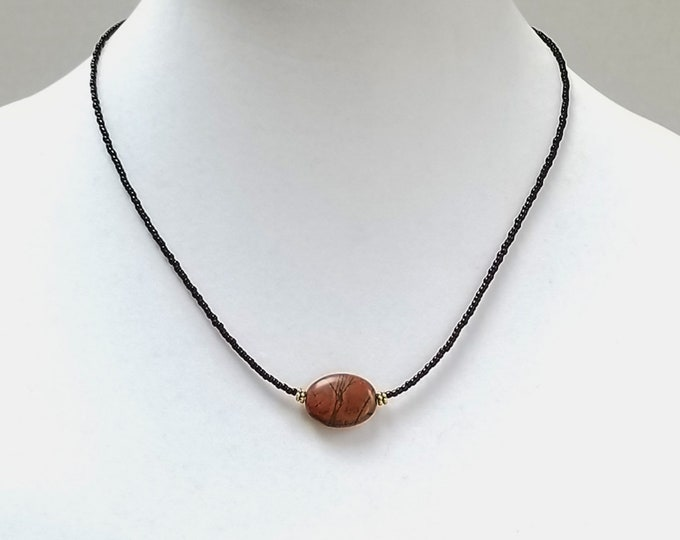 Jasper Focal Bead Minimalist Necklace, Dark Brown Seed Bead Minimalist Necklace, Short Layering Minimalist Necklace