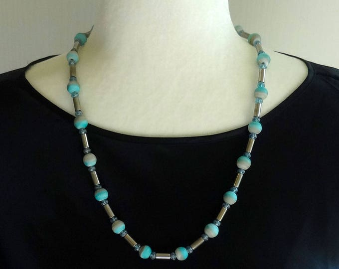 Teal, Gray, White Glass Beads and Silver Tube Beads Necklace