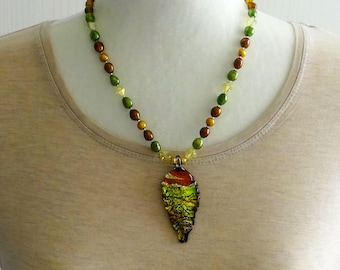 Gold Pearls, Rust Pearls and Green Pearls, Yellow Swarovski Beads and Gold Beads Necklace / Glass Leaf Pendant / Fall Necklace / Autumn