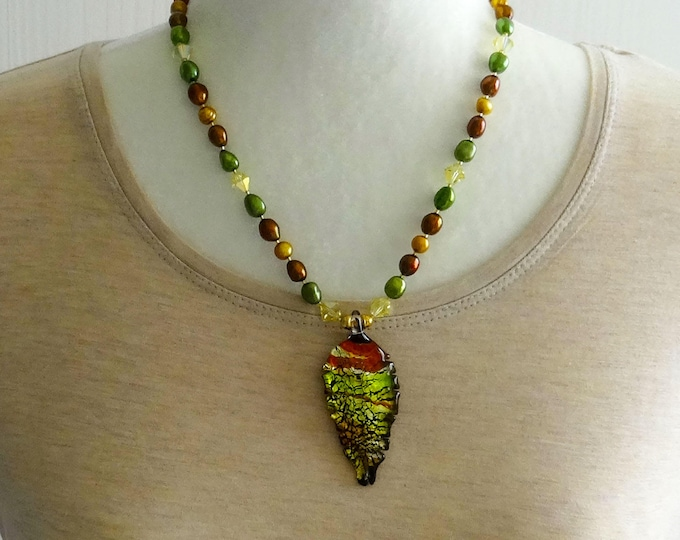 Gold Pearls, Rust Pearls and Green Pearls, Yellow Swarovski Beads and Gold Plated Beads Necklace / Glass Leaf Pendant / Fall / Autumn