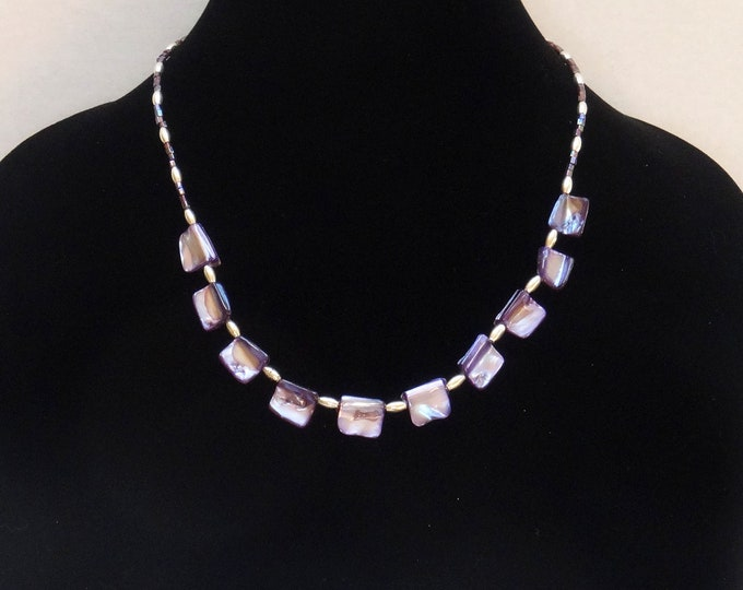 Purple Mother of Pearl Beads, Purple Glass Seed Beads and Silver Oval Beads Necklace, Purple Summer Necklace, Summer Party Necklace