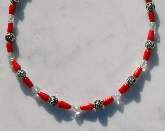 Red Coral Beads, Red Swarovski Beads, Silver Metal Rose Beads Necklace