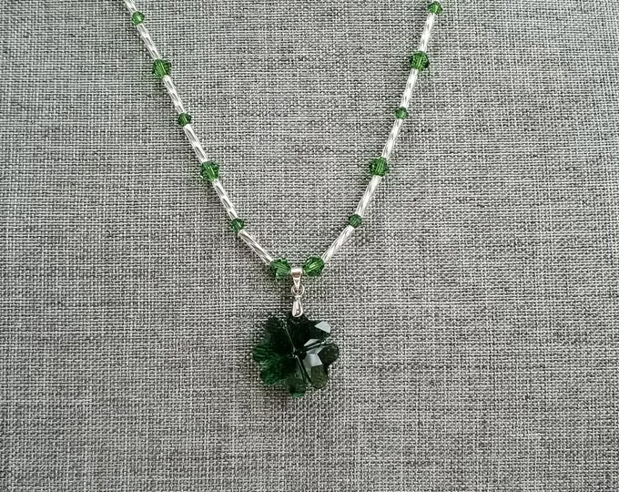 Featured listing image: Green Glass Shamrock Pendant, Green Glass Clover Pendant, Green Swarovski Glass Necklace, Green Bead Necklace, St Patricks Day Necklace
