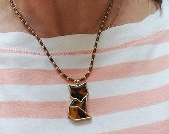 Fox Pendant Necklace, Tigers Eye Beaded Necklace, Brown Bead Necklace, Fox Pendant for Teens, Fox Lover Necklace, Minimalist Necklace
